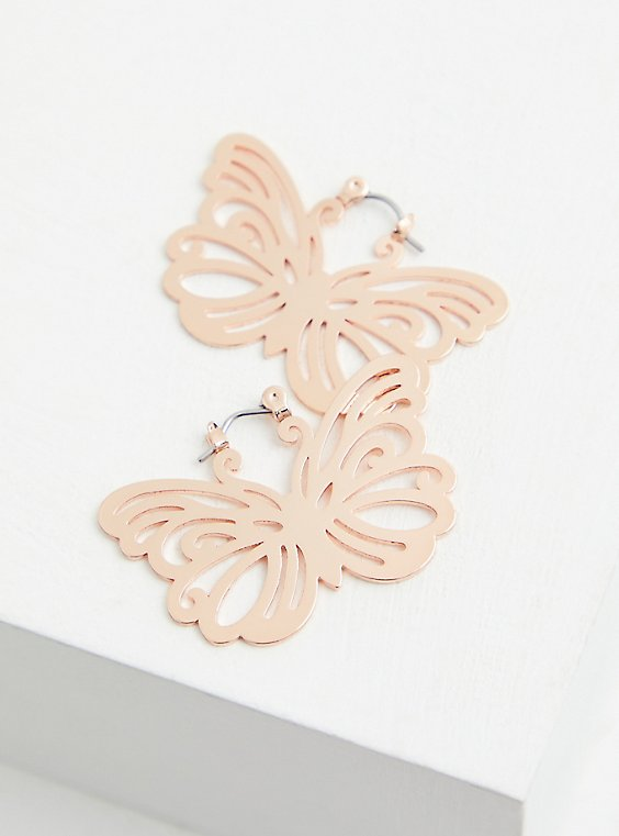 Rose Gold-Tone Butterfly Statement Earrings, , hi-res
