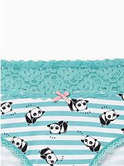 Turquoise Panda Wide Lace Cotton Cheeky Panty, LAZY PANDA, alternate