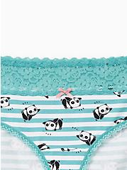 Plus Size Turquoise Panda Wide Lace Cotton Hipster Panty, LAZY PANDA, alternate