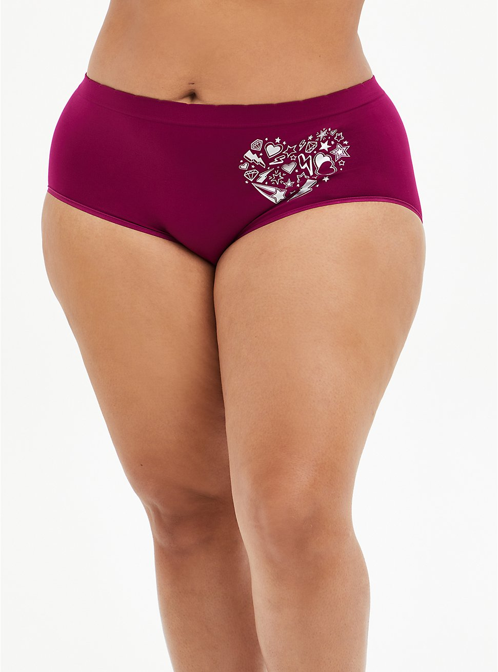 Berry Pink Doodle Heart Seamless Brief Panty, , hi-res