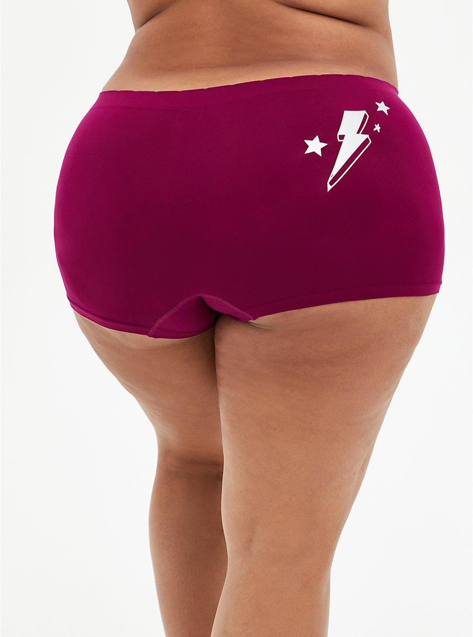 Berry Pink Doodle Heart Seamless Boyshort Panty, , hi-res