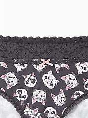 Plus Size Grey Kittens Wide Lace Cotton Cheeky Panty, , alternate