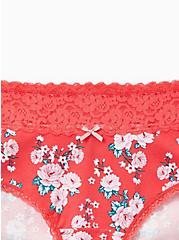 Berry Pink Floral Wide Lace Cotton Cheeky Panty, DELICATE ROSES, alternate