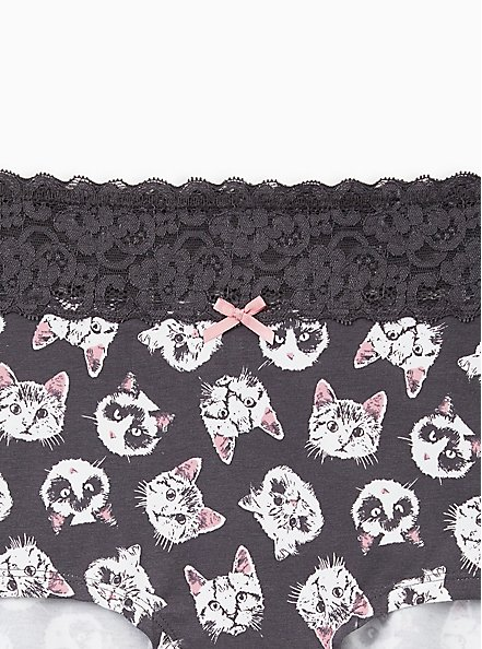 Kittens Wide Lace Cotton Cotton Boyshort Panty, , alternate