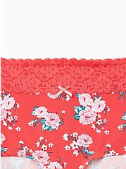 Bright Berry Floral Wide Lace Cotton Boyshort Panty, DELICATE ROSES, alternate