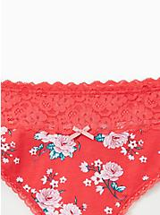 Bright Berry Floral Wide Lace Thong Panty, DELICATE ROSES, alternate
