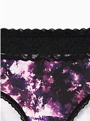 Black Tie-Dye Wide Lace Cotton Cheeky Panty , TIGER DYE, alternate