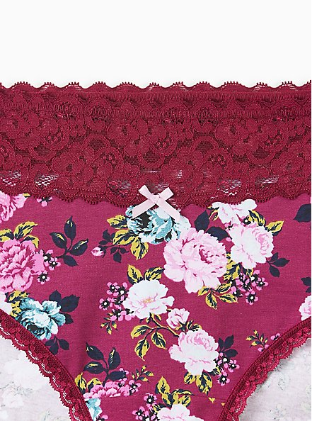 Purple Floral Wide Lace Cotton Cheeky Panty , SWEET SUMMER FLORAL- PURPLE, alternate