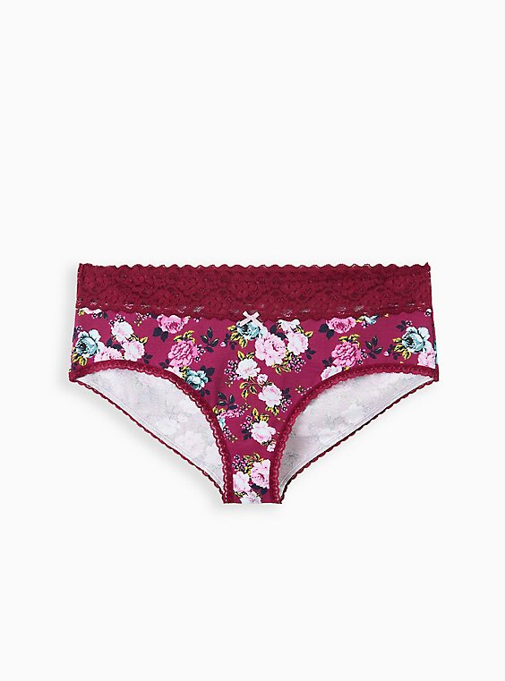 Purple Floral Wide Lace Cotton Cheeky Panty , SWEET SUMMER FLORAL- PURPLE, hi-res