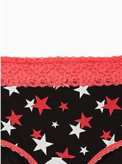 Black & Bright Berry Stars Wide Lace Cotton Brief Panty, MEGA STARS, alternate