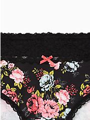 Black Floral Wide Lace Cotton Cheeky Panty , SWEET SUMMER FLORAL- BLACK, alternate