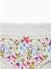 Light  Heather Grey Skulls Wide Lace Cotton Cheeky Panty, , alternate