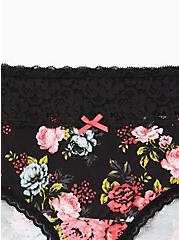 Black Floral Wide Lace Cotton Hipster Panty , SWEET SUMMER FLORAL- BLACK, alternate