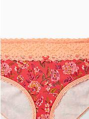 Plus Size Bright Berry Floral Wide Lace Cotton Hipster Panty, PRETTY SPECKLED FLORAL- PINK, alternate