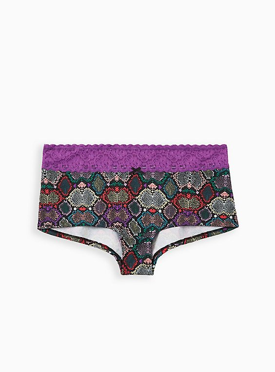 Multi Snake Wide Lace Cotton Boyshort Panty, RAINBOW SNAKE- BLACK, hi-res