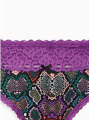 Multi Snake Wide Lace Cotton Thong Panty, RAINBOW SNAKE- BLACK, alternate