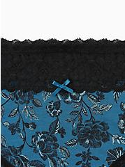 Blue Floral Wide Lace Cotton Cheeky Panty , PRETTY SPECKLED FLORAL- BLUE, alternate