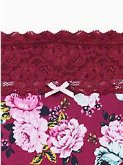 Pink Floral Wide Lace Cotton Hipster Panty, SWEET SUMMER FLORAL- PURPLE, alternate
