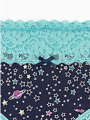 Navy Stars Wide Lace Cotton Hipster Panty , STAR SYSTEMS- NAVY, alternate