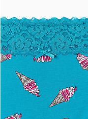 Teal Ice Cream Cones Lace Cotton Boyshort Panty, CHILLIN ICE CREAM, alternate