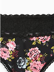 Black Floral Wide Lace Cotton Thong Panty, SWEET SUMMER FLORAL- BLACK, alternate