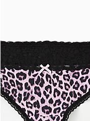 Lilac Purple Leopard Wide Lace Cotton Thong Panty, MIDI LEOPARD, alternate