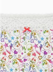 Multicolored Skulls Wide Lace Cotton High Waist Panty , WILD SKULLS- GREY, alternate
