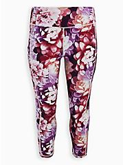 Purple Floral Wicking Active Strappy Legging, FLORAL - PURPLE, hi-res