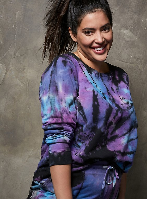 Black Tie-Dye Terry Active Sweatshirt, TIE DYE, hi-res