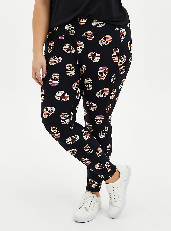 Black Camo Skull Wicking Active Legging, SKULL - BLACK, hi-res