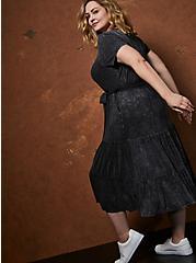 Super Soft Black Wash Tiered Skater Midi Dress, DEEP BLACK, alternate