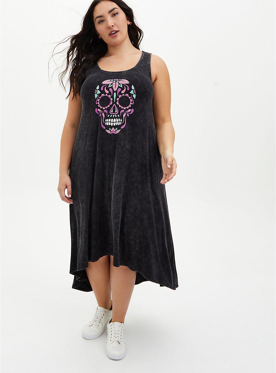 Black Wash Skull Hi-Lo Maxi Dress, DEEP BLACK, hi-res