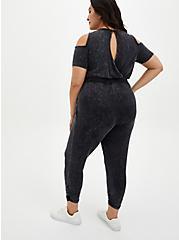 Super Soft Black Wash Cold Shoulder Jumpsuit, DEEP BLACK, alternate