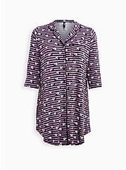 Plus Size Super Soft Vintage Purple & Grey Panda Sleep Dress , MULTI, hi-res