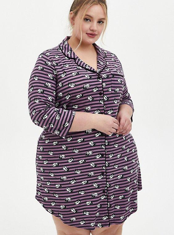 Plus Size Super Soft Vintage Purple & Grey Panda Sleep Dress , , hi-res