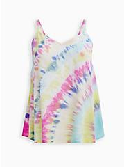 Sophie - Rainbow Tie-Dye Rayon Slub Swing Cami, TIE DYE - WHITE, hi-res