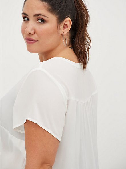 White Georgette Pullover Blouse, CLOUD DANCER, alternate
