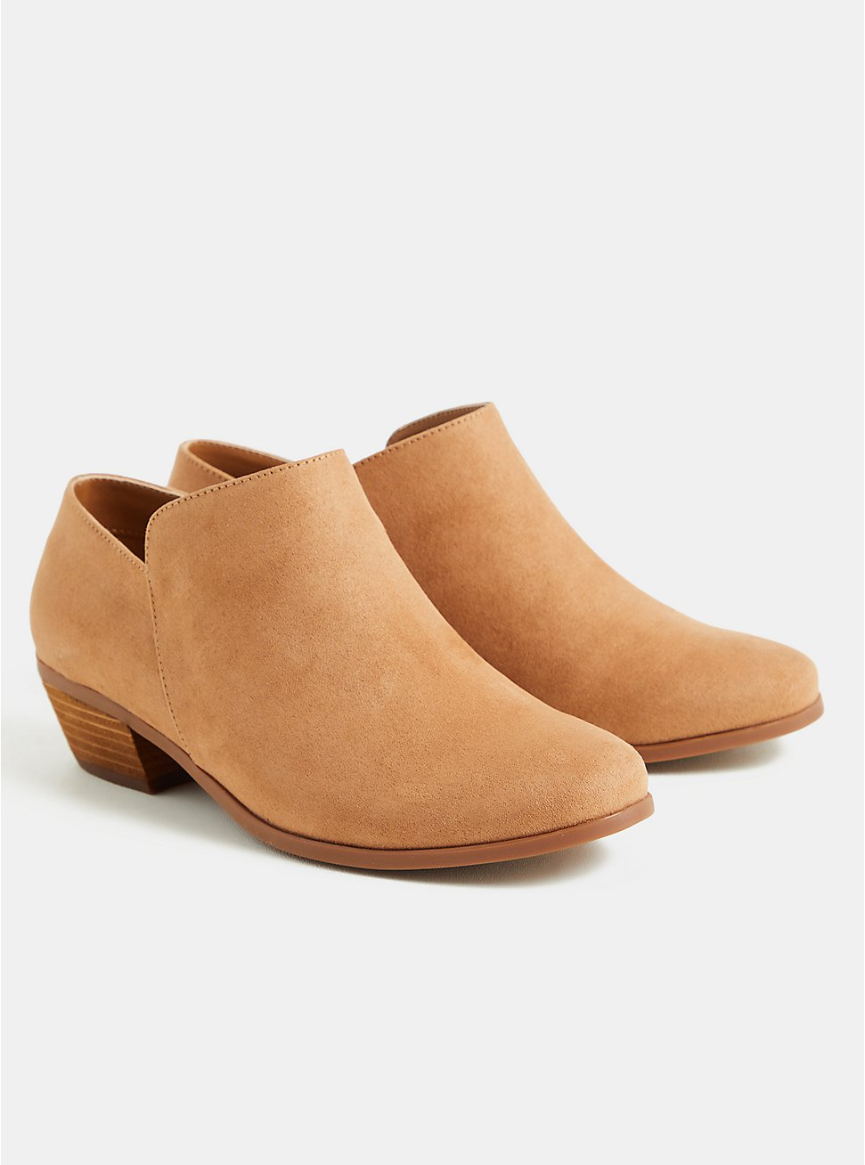 Light Brown Faux Suede Ankle Bootie (WW), BROWN, hi-res