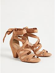Cognac Faux Suede Ankle Wrap Cone Heel (WW), BROWN, alternate