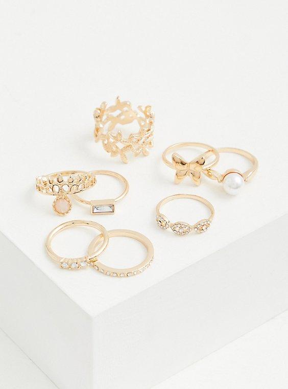 Gold-Tone Faux Pearl Ring Set - Set of 8, GOLD, hi-res