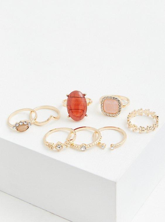 Gold-Tone & Blush Pink Faux Stone Rhinestone Ring Set - Set of 8, PINK, hi-res
