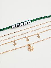 Green Lucky & Charm Anklet Set - Set of 5, , alternate