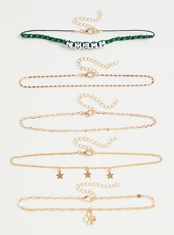 Green Lucky & Charm Anklet Set - Set of 5, , hi-res