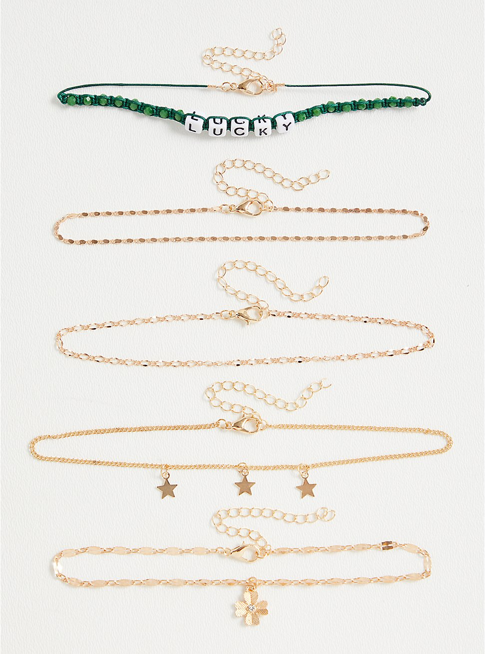Green Lucky & Charm Anklet Set - Set of 5, , hi-res