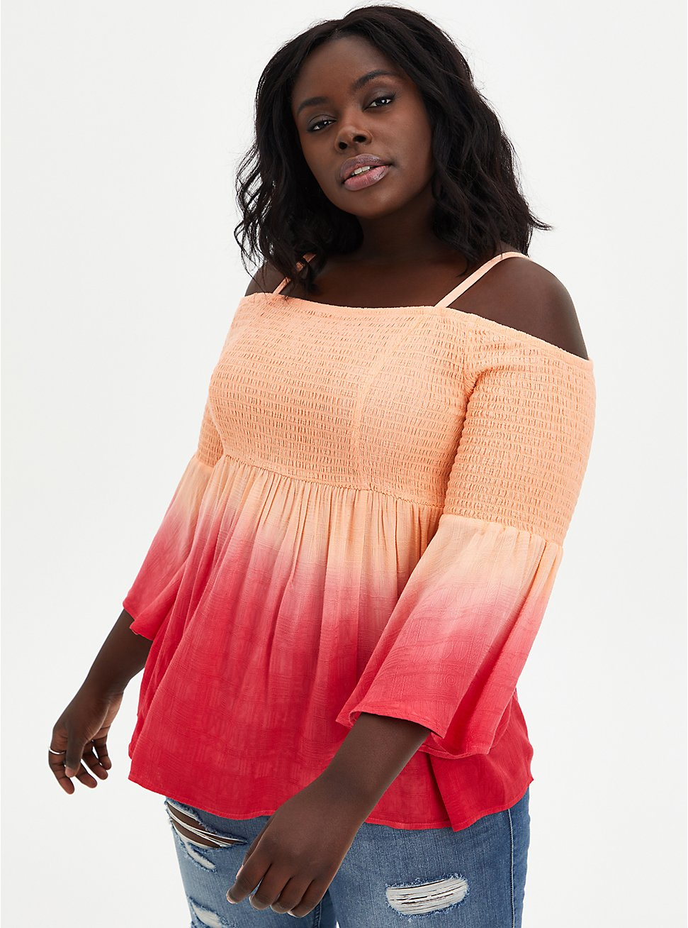Peach Gradient Cold Shoulder Babydoll Top, PEACH NECTAR, hi-res