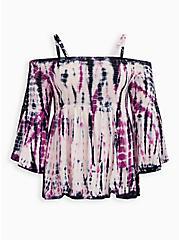 Purple Tie-Dye Cold Shoulder Babydoll, TIE DYE STRIPE, hi-res