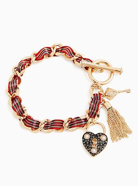 Betsey Johnson Gold-Tone & Red Plaid Heart Lock and Key Charm Bracelet , , alternate