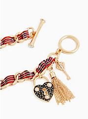 Betsey Johnson Gold-Tone & Red Plaid Heart Lock and Key Charm Bracelet , , alternate