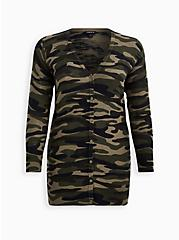 Camo Slub Boyfriend Cardigan Sweater , MULTI, hi-res