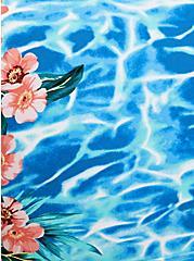 Blue Water Floral Sleeve Swim Top, MULTI, alternate